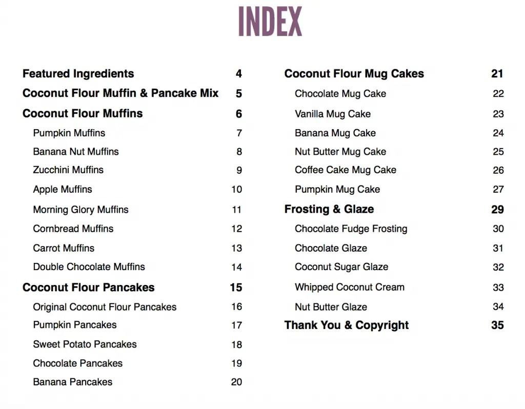 Coconut Flour ebook index