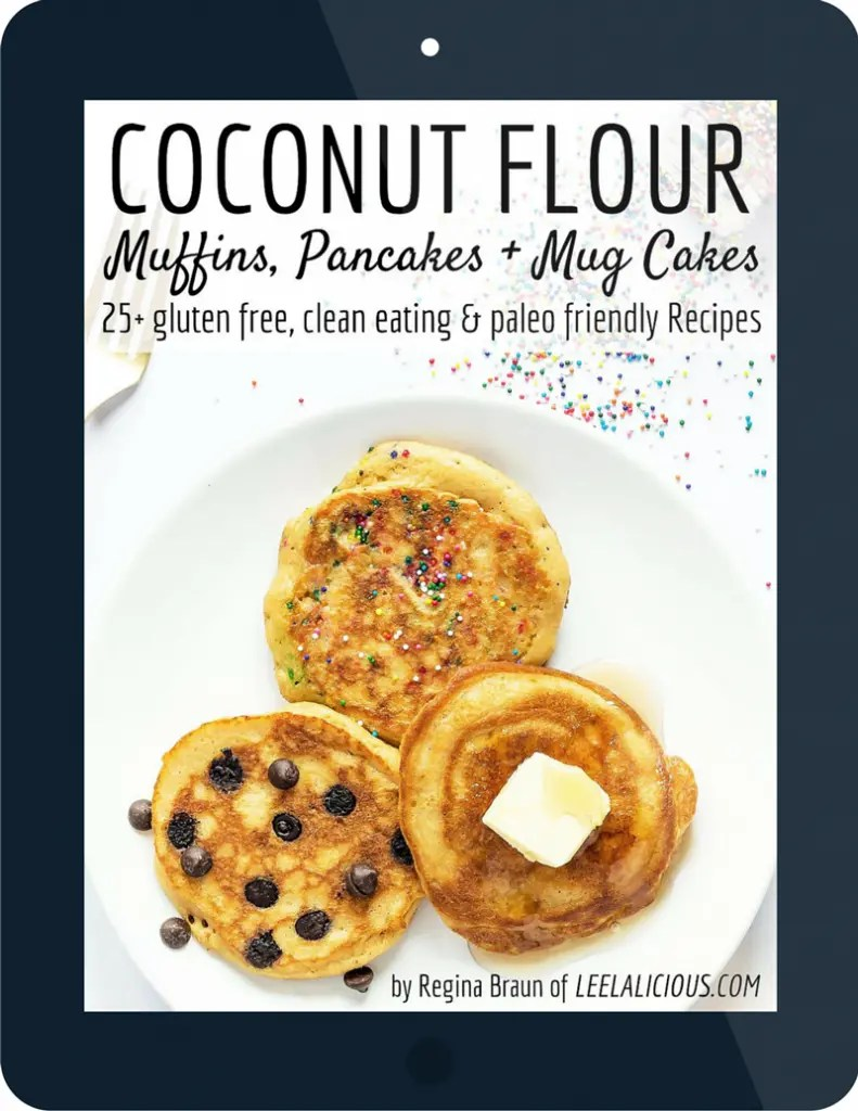 Coconut Flour ecookbook cover with pancakes on a plate