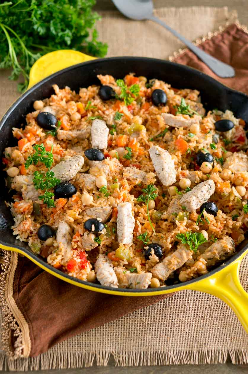 One Skillet Mediterranean Pork and Rice