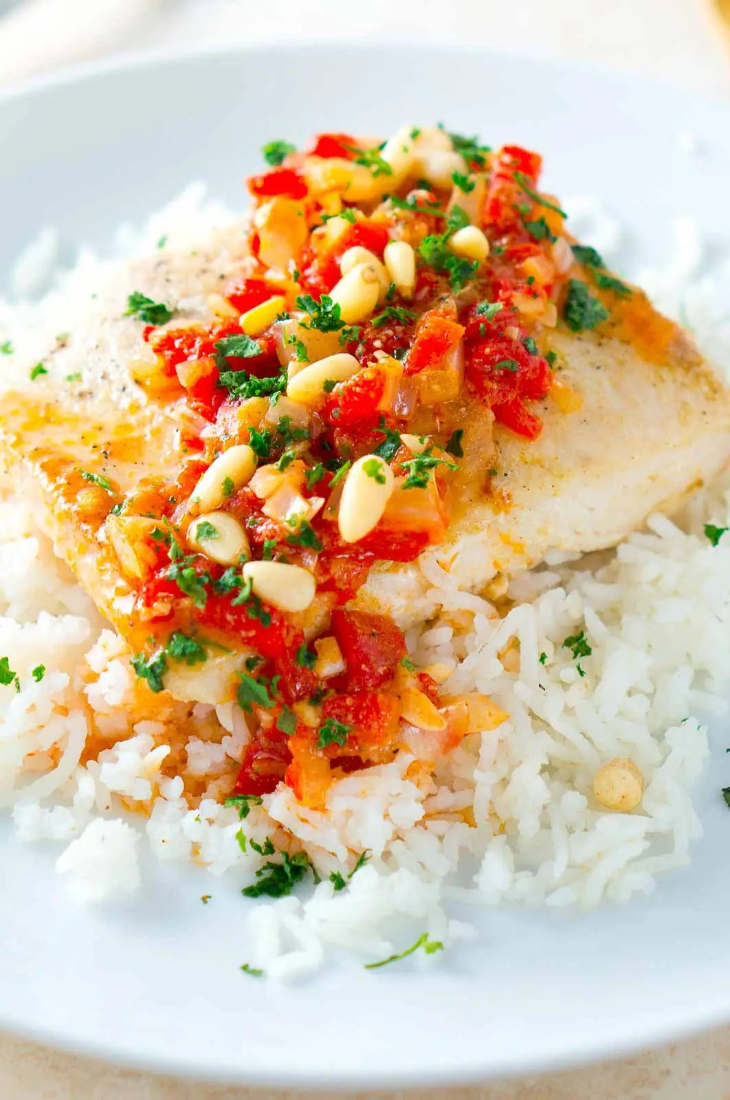 Mahi Mahi with Roasted Pepper Butter Sauce