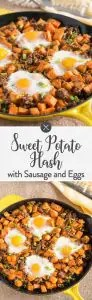 Sweet Potato Hash w Sausage and Eggs