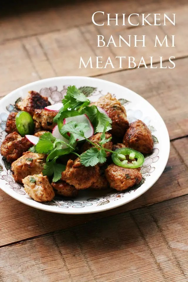 bowl of chicken banh mi meatballs