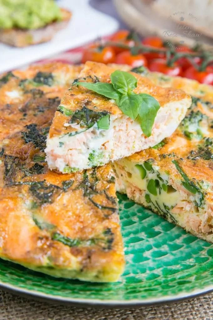 broccoli and salmon frittata