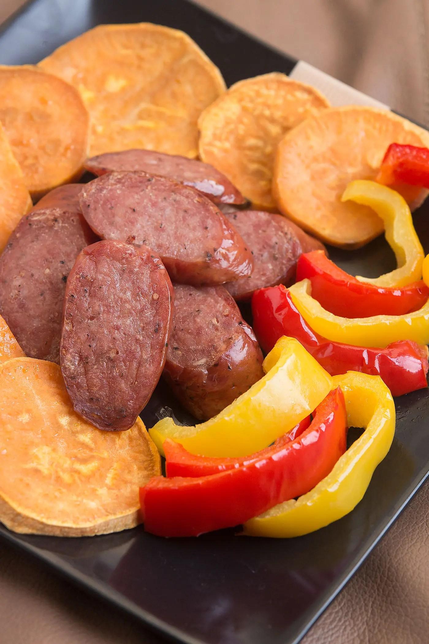 sweet potatoes and sausage sheet pan dinner