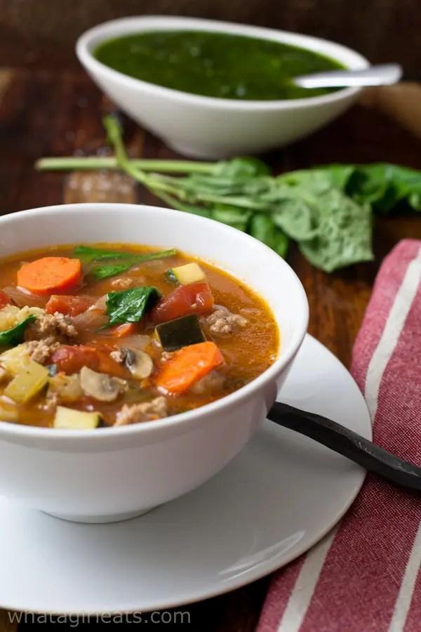 bowl of Mediterranean sausage soup