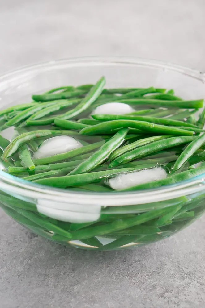 ice cold bath for green beans