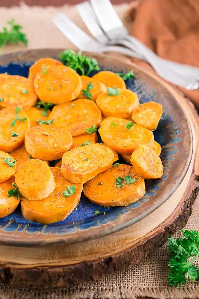 baked sweet potato medallions