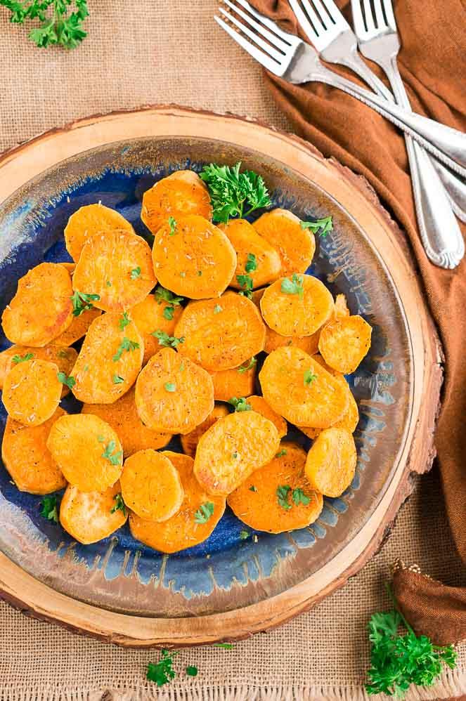 baked sweet potato slices recipe