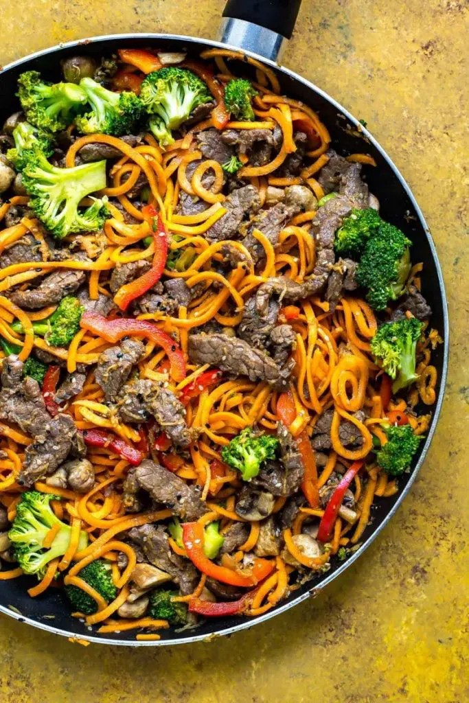 Skillet Beef with Sweet Potato Noodles