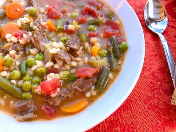 healthy freezer meal - bowl of Instant Pot beef and barley soup