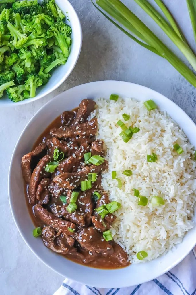Instant Pot recipes - plate of Mongolian Beef with white rice