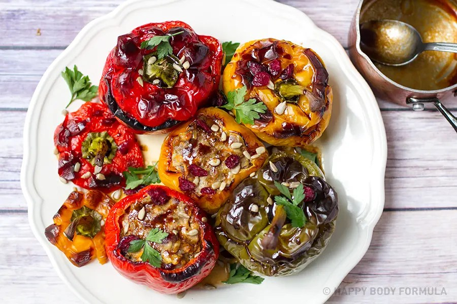 Cranberry Pork Stuffed Peppers