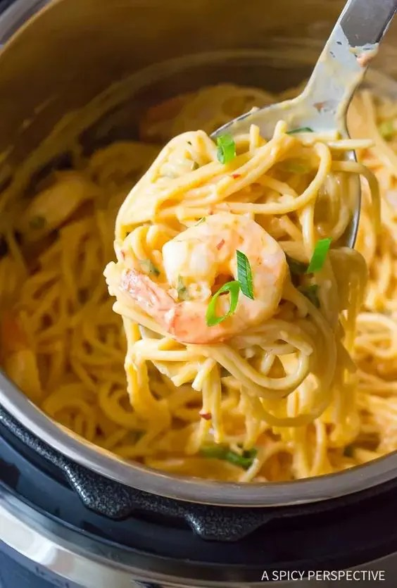 easy Instant Pot recipes - Bang Bang shrimp over spaghetti noodles