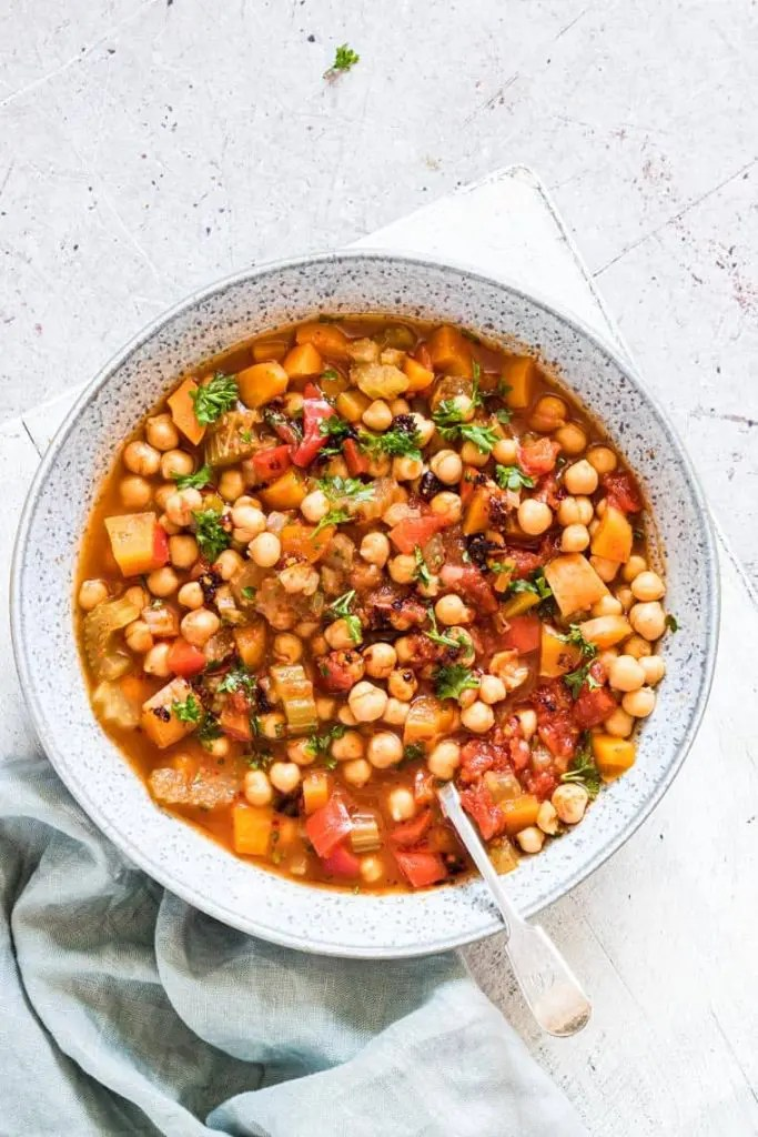 bowl of Moroccan chickpea stew