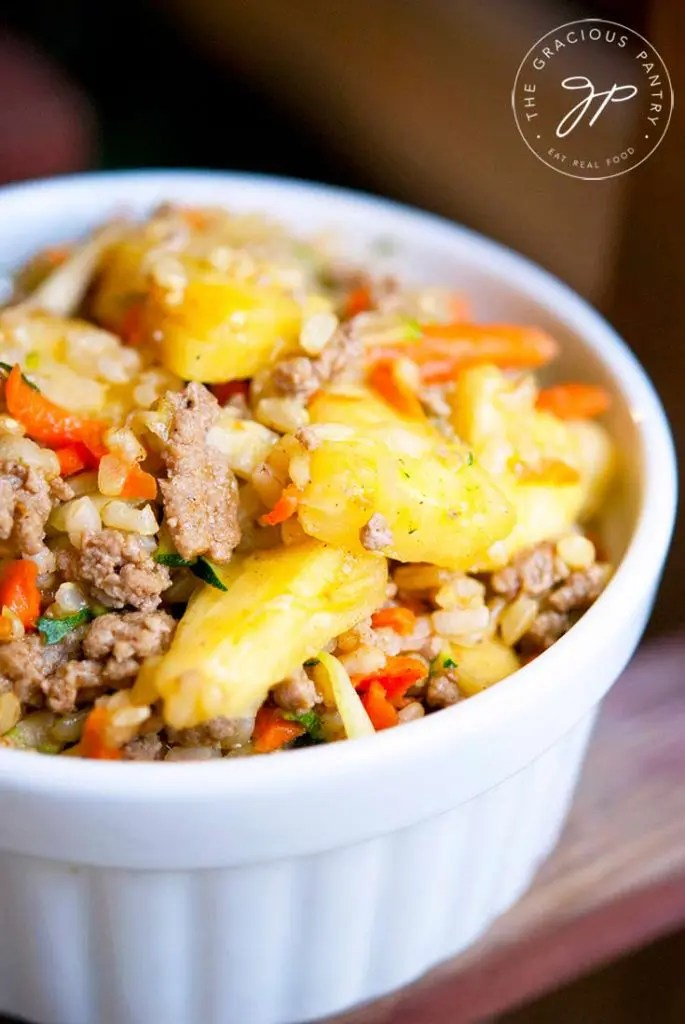 healthy freezer meals - pineapple curry turkey rice bowl