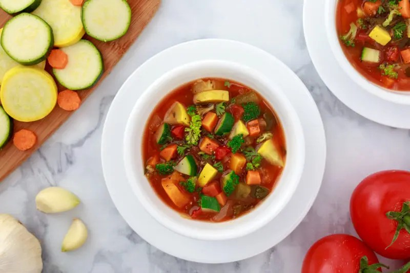 white bowl of weight loss vegetable soup made in Instant Pot