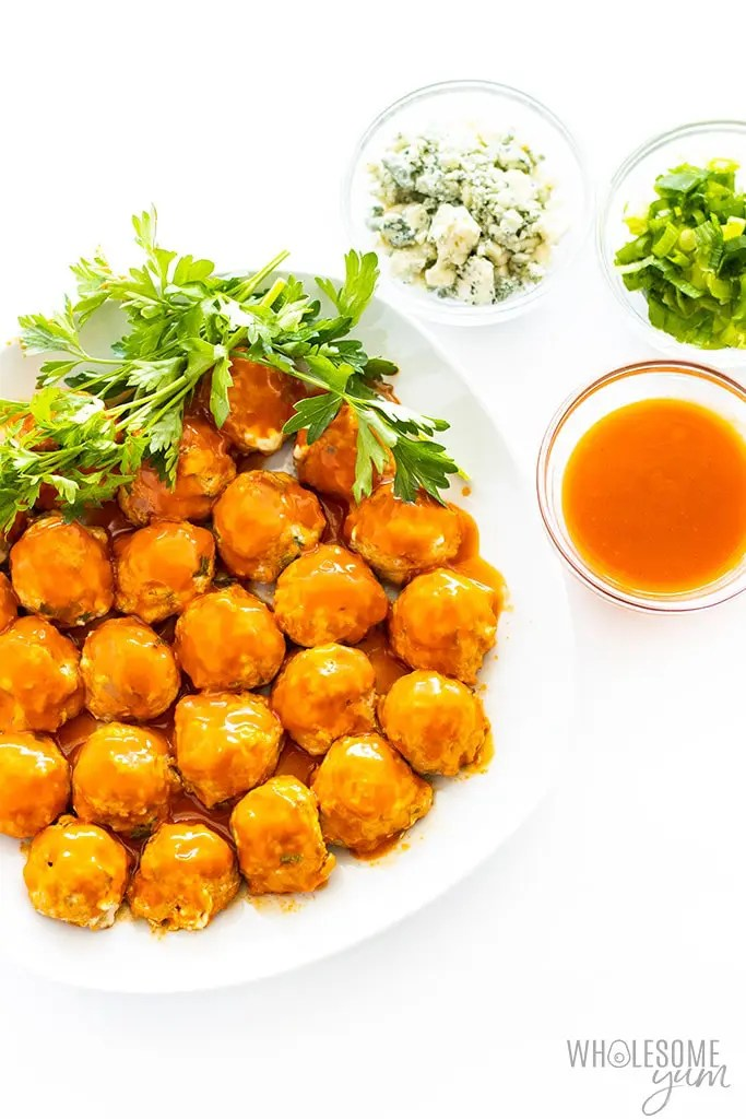 platter of Low Carb/Keto Buffalo Chicken Meatballs