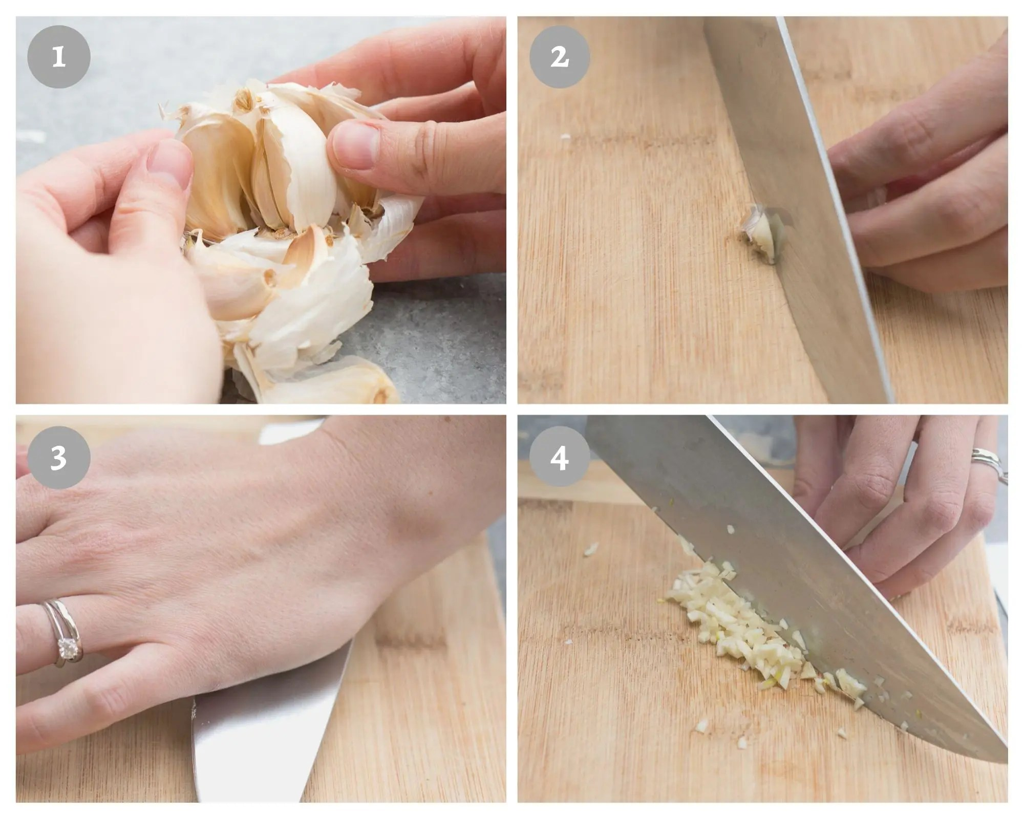 step by step visual on how to peel and mince garlic without a garlic press