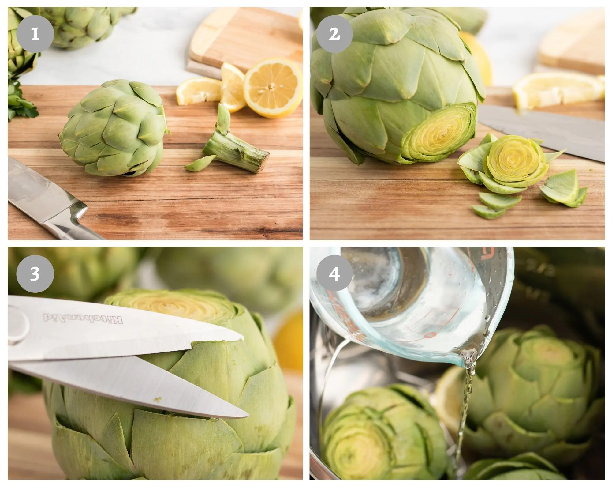 Instant Pot Artichokes - process shots