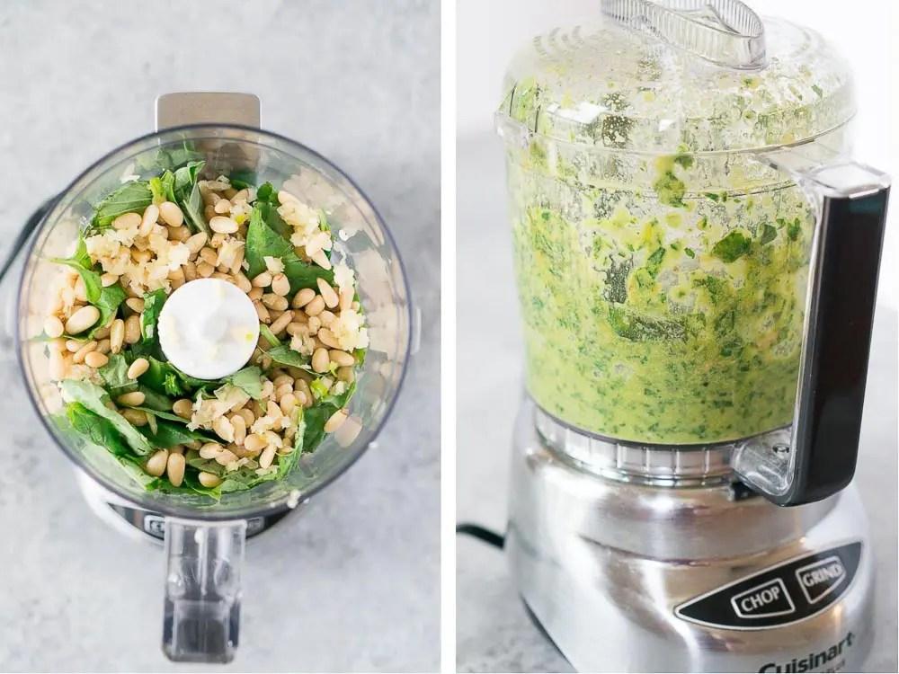 process of how to make basil pesto recipe