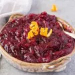 homemade cranberry sauce in a clay bowl
