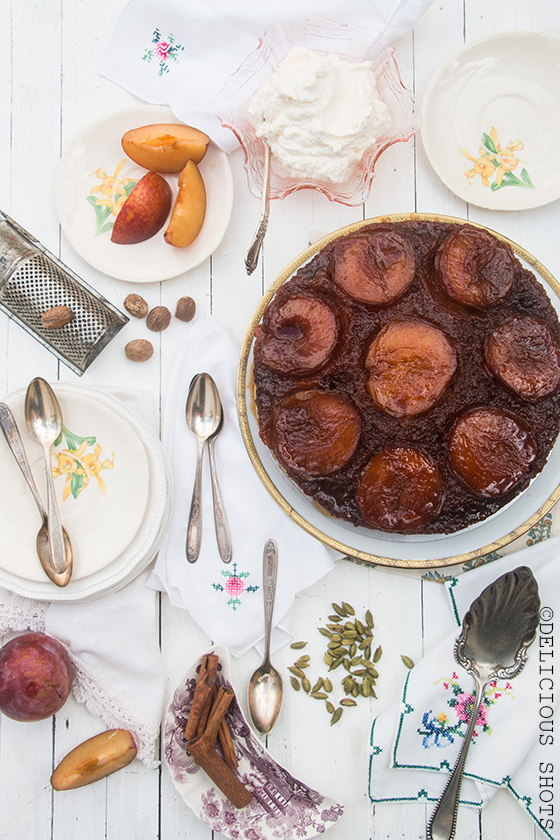Spiced Upside-Down Plum Cake