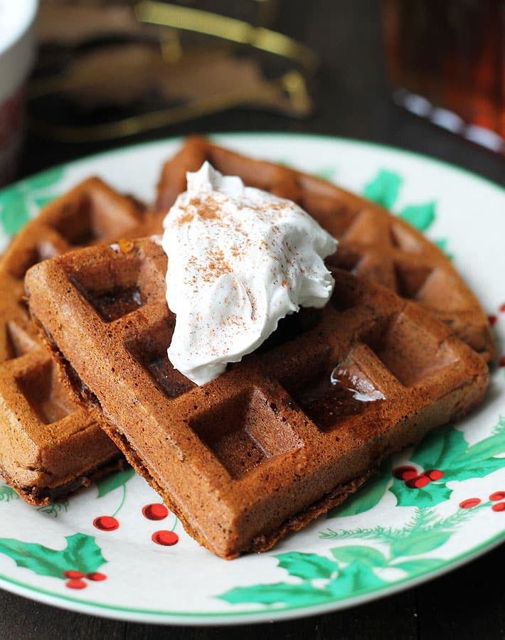 These Vegan Gluten Free Gingerbread Waffles are so delicious, you'll want to make them all year and not just during the holidays!