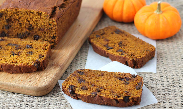Vegan Gluten Free Pumpkin Chocolate Chip Bread