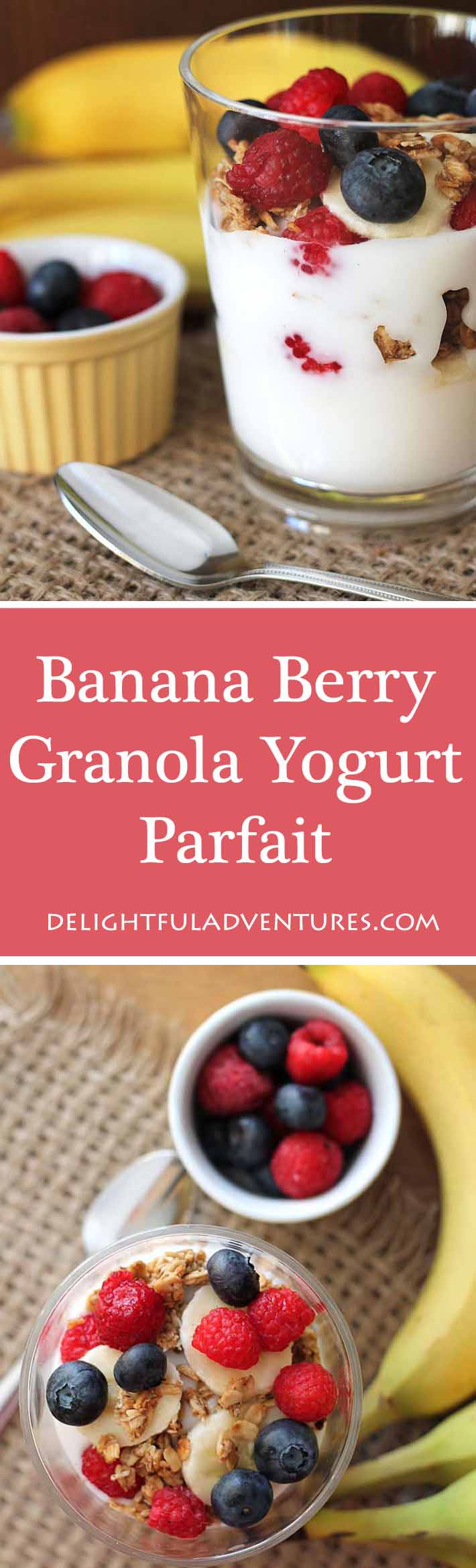 A Banana Berry Granola Yogurt Parfait is just what you need to start your day or to keep you going when you're looking for a healthy afternoon snack.