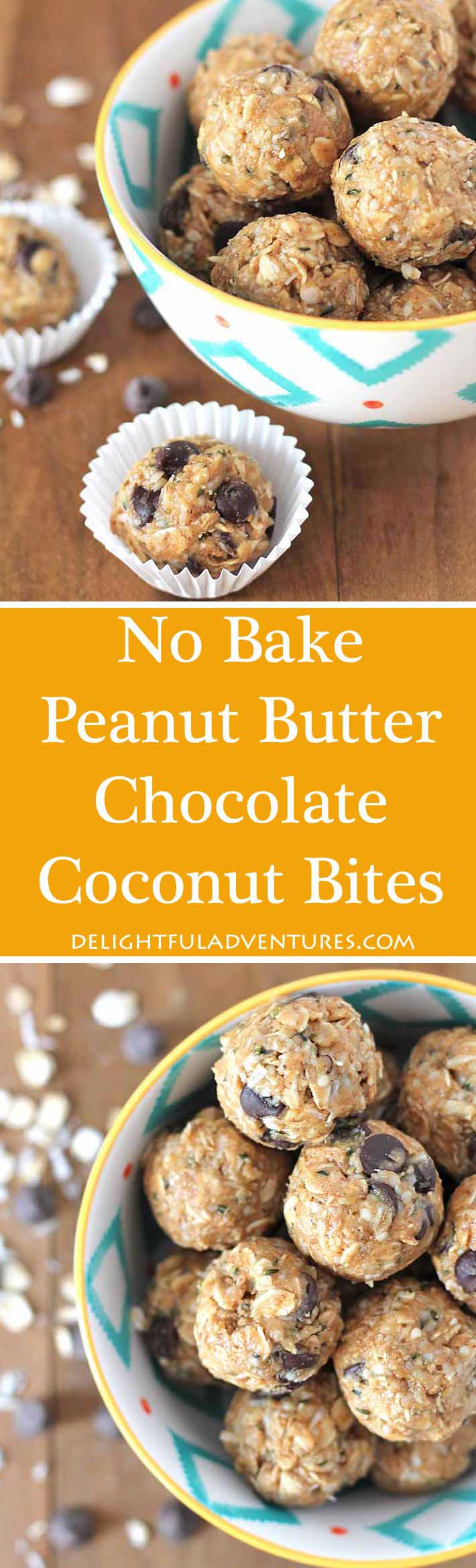 Craving something sweet but healthy? Then grab one of these easy No Bake Peanut Butter Chocolate Coconut Bites. They're quick to make and they're delicious!