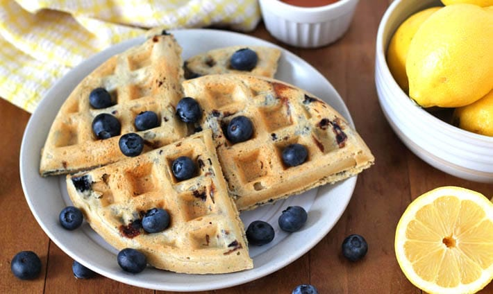 Vegan Gluten Free Lemon Blueberry Waffles