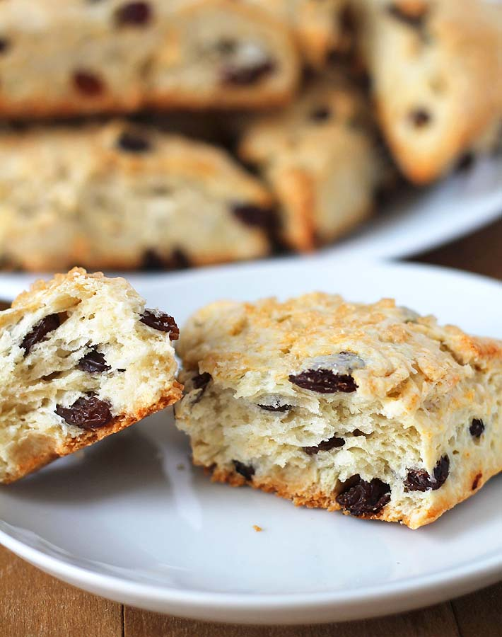 Inside shot showing the texture of these Coconut Raisin Vegan Scones.