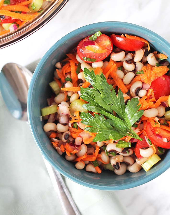 Overhead shot of a bowl of Simple Black-Eyed Pea Salad.