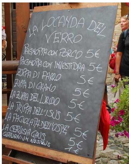 Florence typical food: Menu