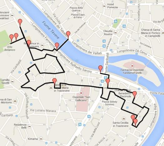 Trastevere walking tour-Walk in Trastevere Map