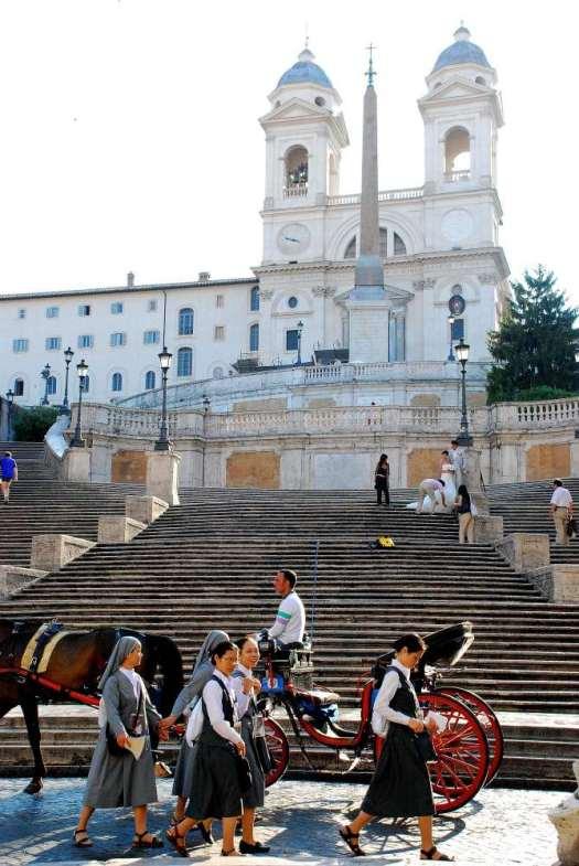 Nuns crossing a carrozzella