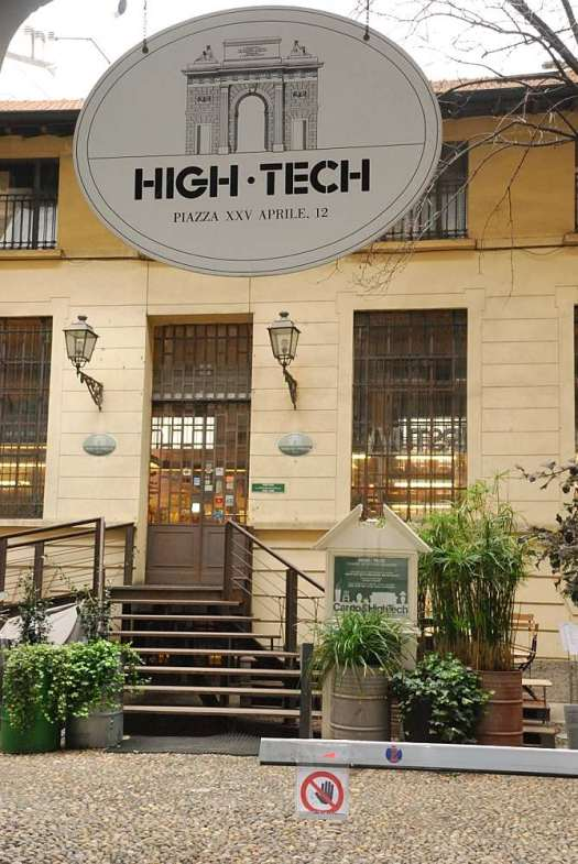 High tech entrance, from a XIX century courtyard