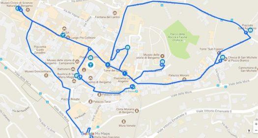 Bergamo in one day walking itinerary map
