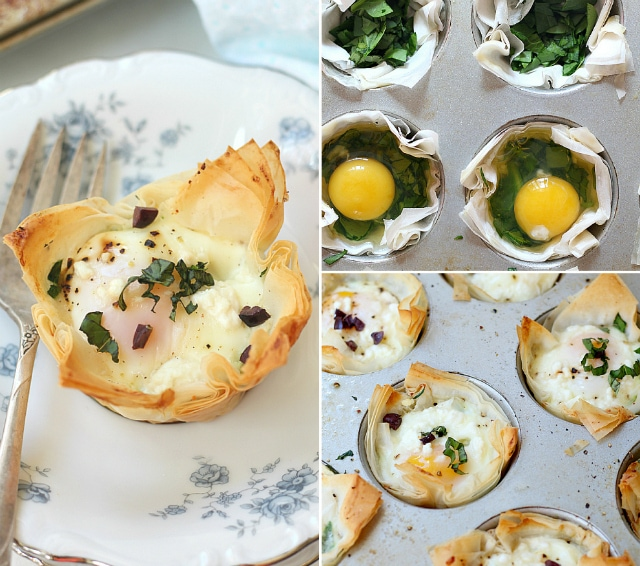 Spinach and Egg Baked Phyllo Cups