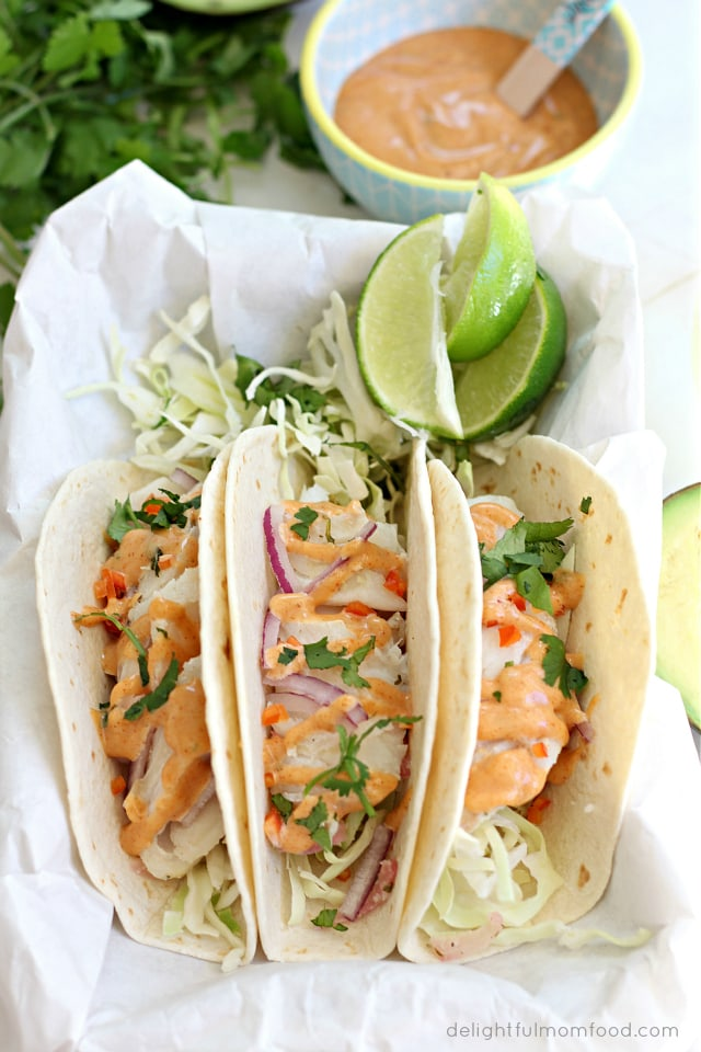 Cod fish tacos with southwest sauce delightful mom food for Sides for fish tacos