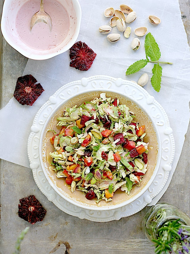 Roasted salad with brussel sprouts