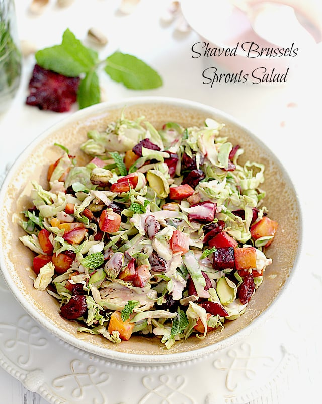 Shaved Brussels Sprouts Salad with Roasted Beet + Butternut Squash   Delightful Mom Food