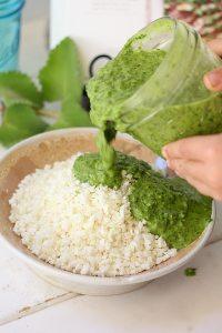 chimichurri marinade for cauliflower rice paleo bowl