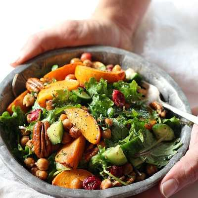 Seasoned Kale Salad With Chickpeas, Cranberry & Persimmon