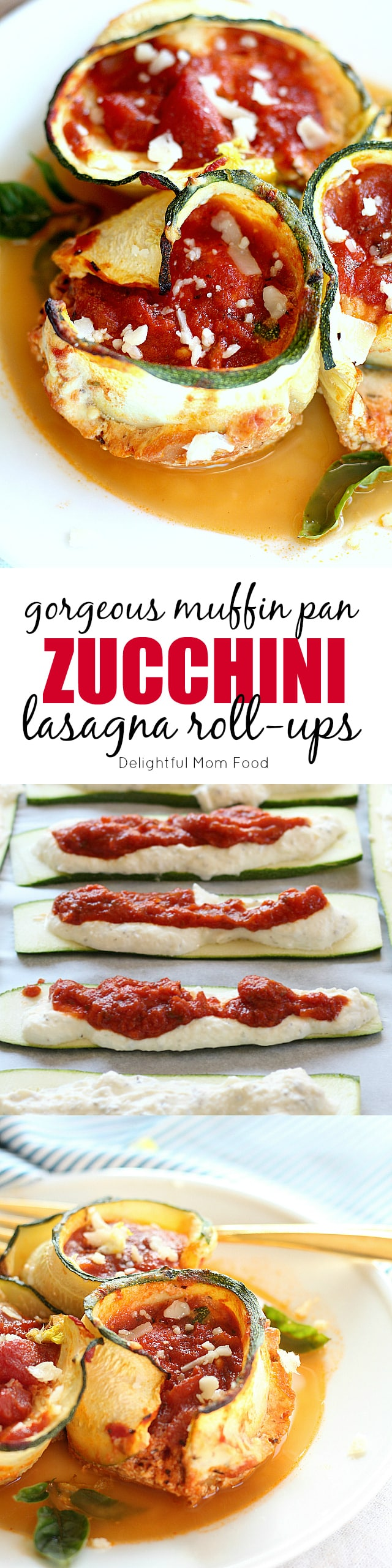 "Vegetarian zucchini lasagna rolls sliced into flat-shaped pasta shapes, layered with sauce, rolled and baked in a muffin pan! Easiest Italian ""lasagne"" dinner that is ready in less than 45 minutes and can be made ahead of time!"