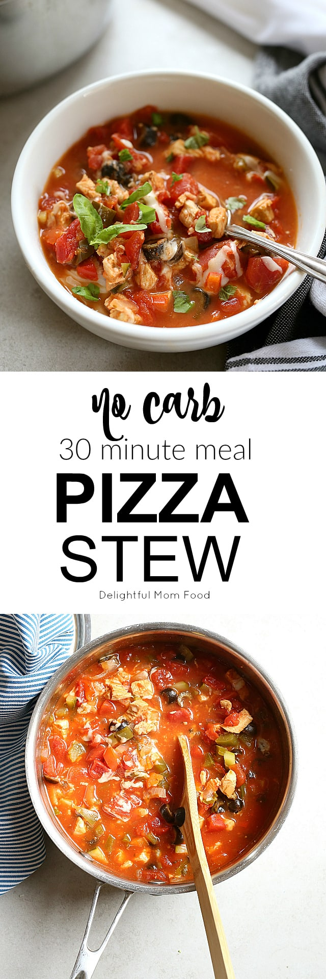 Pizza stew is a great way to use up all those leftover Italian pizza toppings without adding any carbs to your diet! This soup takes as little as 30 minutes and uses hardly any dishes. No deep dish here! Just your favorite vegetables, mushrooms, pepperoni, Sicilian chicken and the mozzarella cheese is optional!