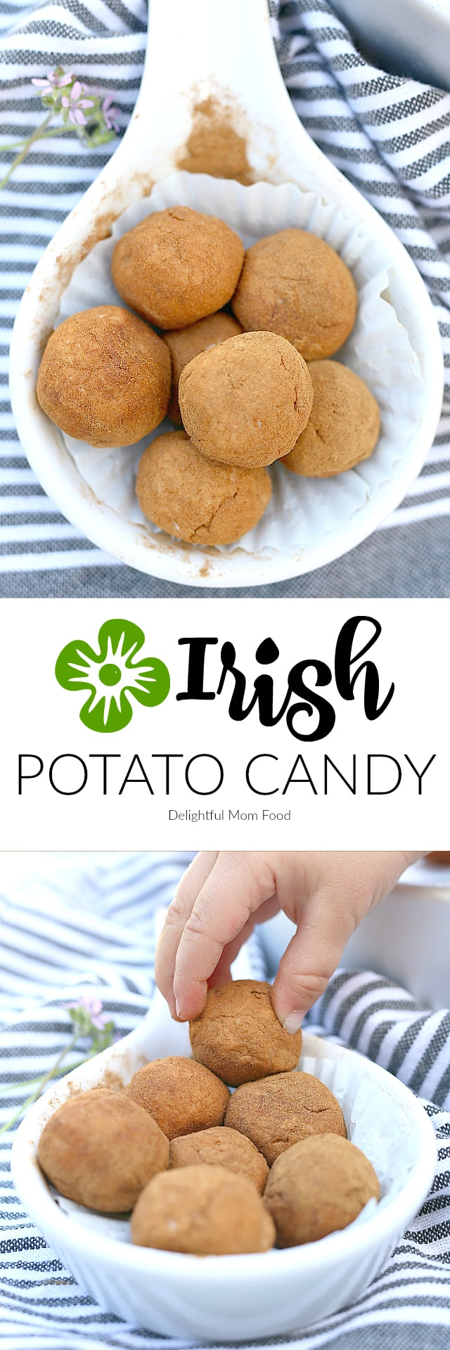 Irish potato candy resembles a potato but is not a potato at all! It is a candy made of cream cheese and sugar rolled into a circular ball and coated with cinnamon!  Perfect for St. Patrick's Day!