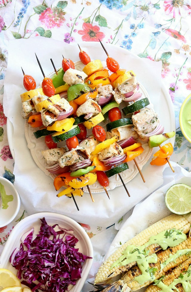 Grilled Fish Skewers With Griilled Corn Closeup