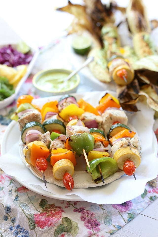 swordfish veggie skewers