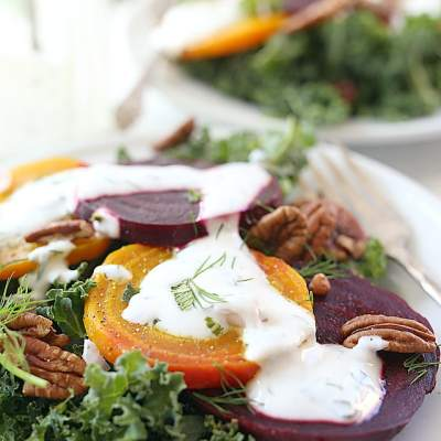 Roasted Beet Kale Salad With Herb Greek Yogurt Dressing